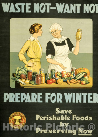 Vintage Poster -  Waste not, Want not -  Prepare for Winter, Historic Wall Art
