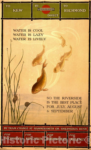 Vintage Poster -  Water is Cool, Water is Lazy, Water is Lively So The River is The Best Place for July August & September., Historic Wall Art