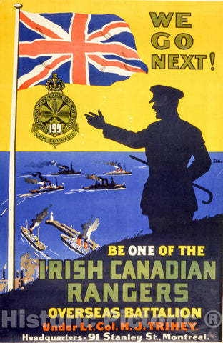 Vintage Poster -  We go Next! Irish Canadian Rangers., Historic Wall Art