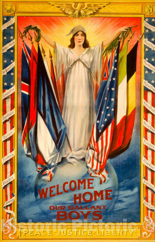 Vintage Poster -  Welcome Home Our Gallant Boys -  Hennegan & Co. Cincinnati, O., Historic Wall Art