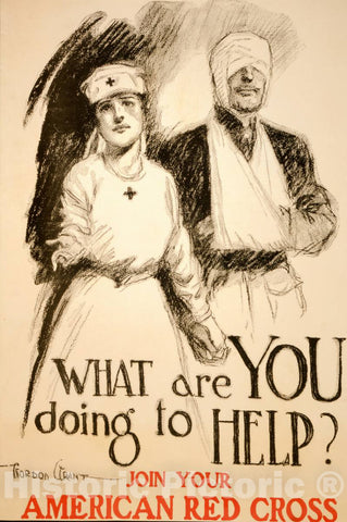 Vintage Poster -  What are You Doing to Help? Join Your American Red Cross -  Gordon Grant., Historic Wall Art