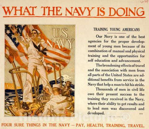 Vintage Poster -  What The Navy is Doing -  Training Young Americans Four Sure Things in The Navy -  Pay, Health, Training, Travel  -  J.C. Leyendecker., Historic Wall Art