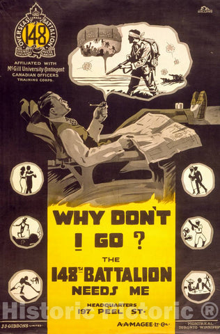 Vintage Poster -  Why Don't I go? The 148th Battalion Needs me -  Holland., Historic Wall Art