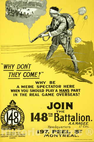 Vintage Poster -  Why Don't They Come? Join The 148th Battalion, Historic Wall Art
