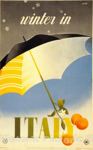 Vintage Poster -  Winter in Italy -  Lalia., Historic Wall Art