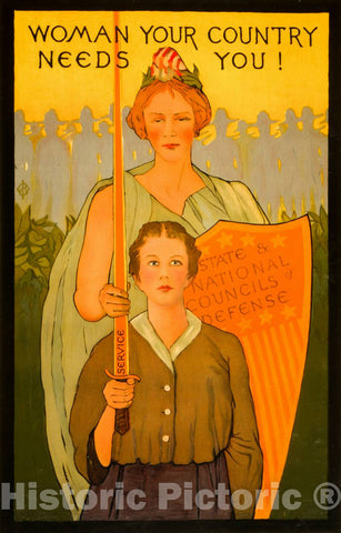 Vintage Poster -  Woman Your Country Needs You!, Historic Wall Art