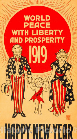 Vintage Poster -  World Peace with Liberty and prosperity - 1919 - Happy New Year, Historic Wall Art