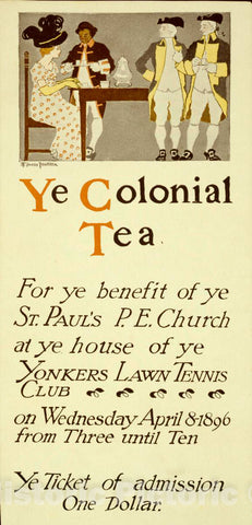 Vintage Poster -  Ye Colonial Tea, Historic Wall Art