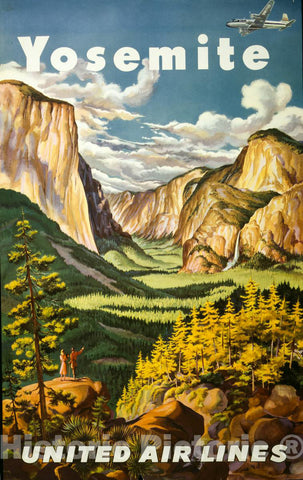 Vintage Poster -  Yosemite. United Air Lines, Historic Wall Art