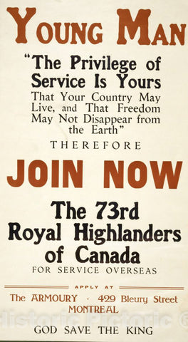 Vintage Poster -  Young Man Join Now, The 73rd Royal Highlanders of Canada, Historic Wall Art