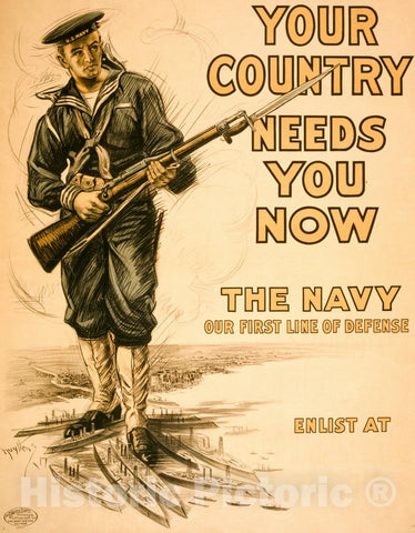 Vintage Poster -  Your Country Needs You Now -  The Navy, Our First line of Defense -  Nuyttens 17., Historic Wall Art