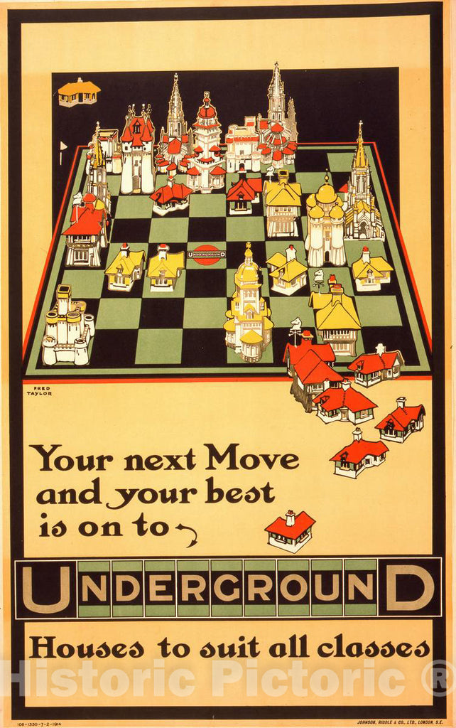 Vintage Poster -  Your Next Move and Your Best is on to Underground Houses to Suit All Classes  -  Fred Taylor., Historic Wall Art