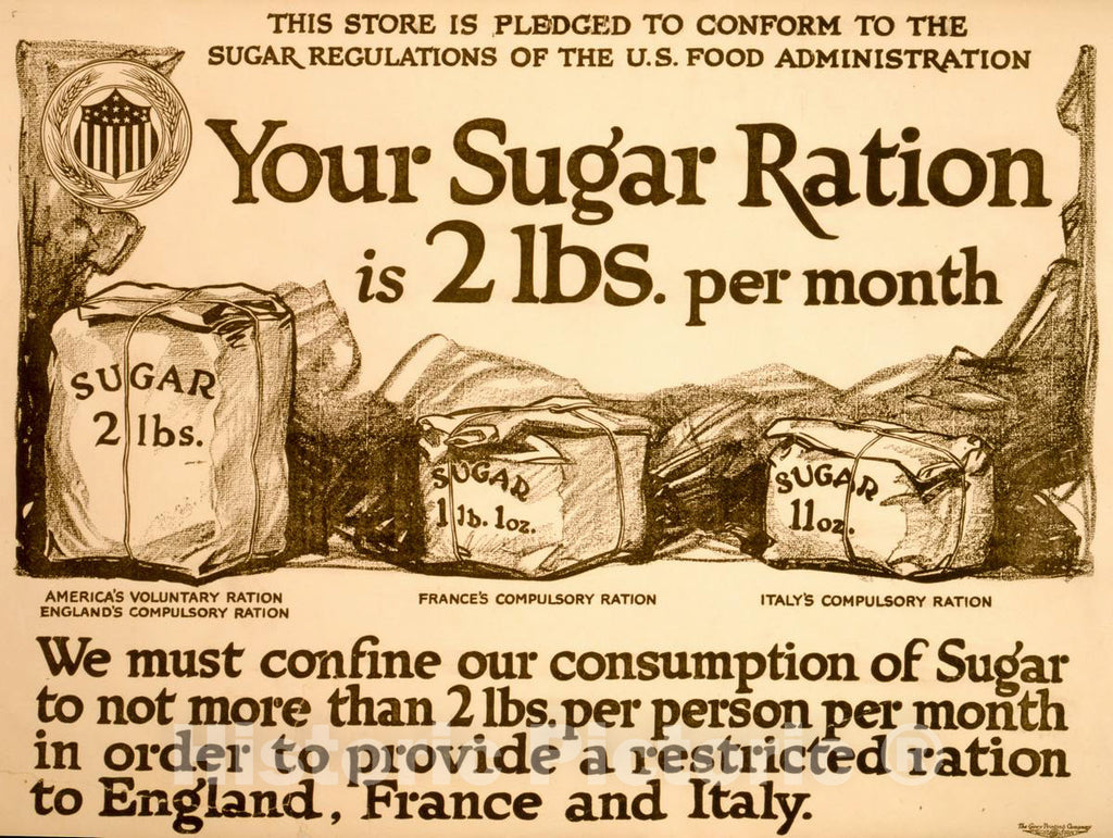Vintage Poster -  Your Sugar Ration is 2 lbs. per Month -  The Carey Printing Company, New York., Historic Wall Art