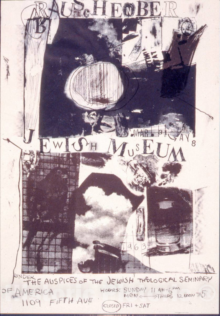 Vintage Poster -  Rauschenberg, Jewish Museum, Mar. 31 -  May 8, 1963 2, Historic Wall Art