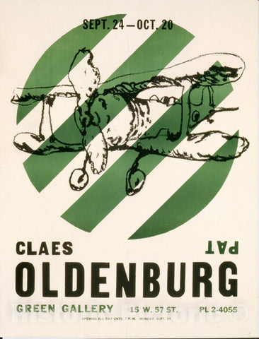 Vintage Poster -  Claes Oldenburg, Green Gallery, New York 1, Historic Wall Art