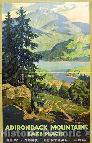 Vintage Poster -  Adirondack Mountains, Lake Placid New York Central Lines, Historic Wall Art