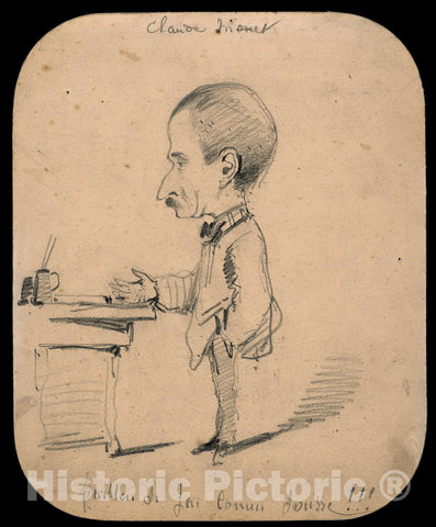 Art Print : Caricature of a Man Standing by Desk (recto); Sketch of Male Head in Profile (verso), Claude Monet, c.1863, Vintage Wall Decor :