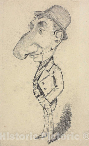 Art Print : Caricature of a Man with a Large Nose, Claude Monet, c.1771, Vintage Wall Decor :
