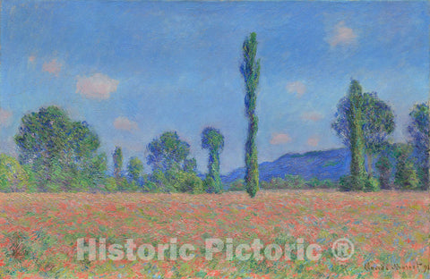 Art Print : Poppy Field (Giverny), Claude Monet, c 1890, Vintage Wall Decor :