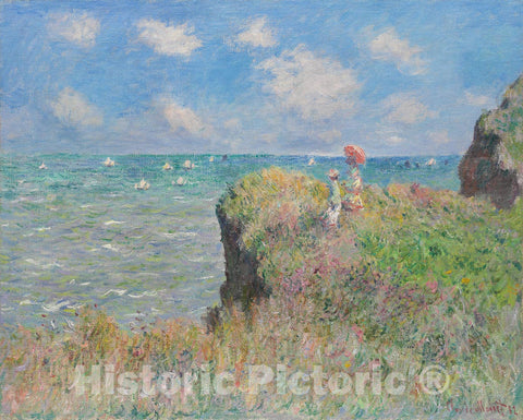 Art Print : Cliff Walk at Pourville, Claude Monet, c 1882, Vintage Wall Decor :