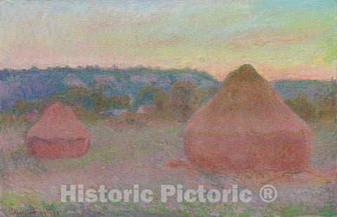 Art Print : Stacks of Wheat (End of Day, Autumn), Claude Monet, c 1890, Vintage Wall Decor :