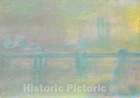 Art Print : Charing Cross Bridge, London, Claude Monet, c 1901, Vintage Wall Decor :