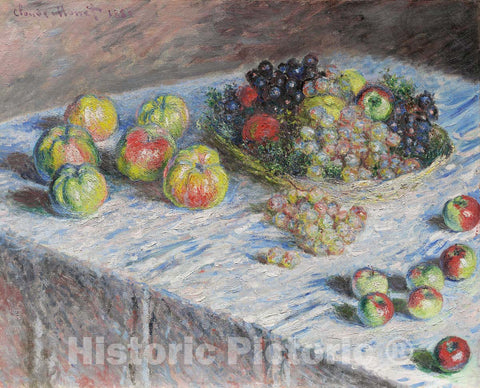 Art Print : Apples and Grapes, Claude Monet, c 1880, Vintage Wall Decor :