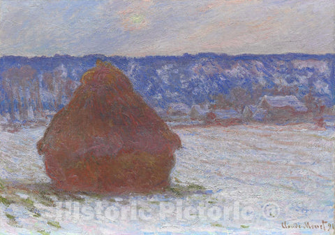 Art Print : Stack of Wheat (Snow Effect, Overcast Day), Claude Monet, c 1890, Vintage Wall Decor :