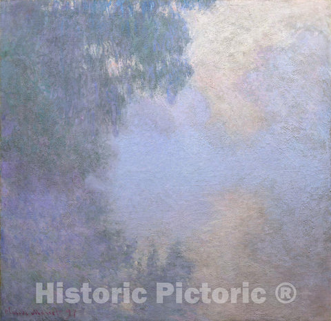 "Art Print : Branch of the Seine near Giverny (Mist), from the series ""Mornings on the Seine"", Claude Monet, c 1897, Vintage Wall Decor :"