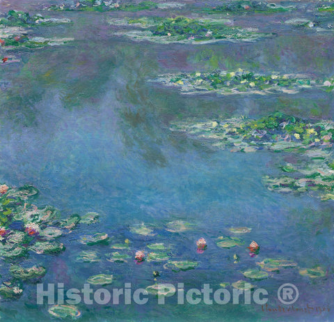 Art Print : Water Lilies, Claude Monet, c 1906, Vintage Wall Decor :
