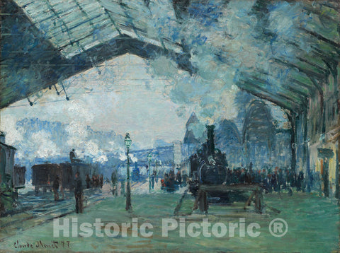 Art Print : Arrival of the Normandy Train, Gare Saint-Lazare, Claude Monet, c 1877, Vintage Wall Decor :