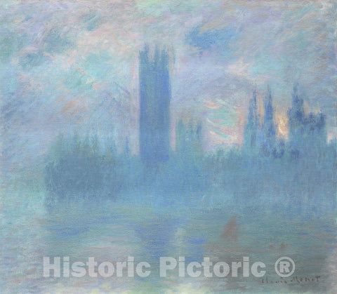 Art Print : Houses of Parliament, London, Claude Monet, c 1900, Vintage Wall Decor :