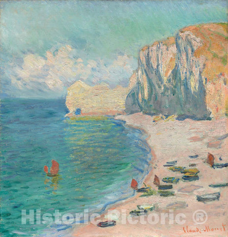 Art Print : etretat: The Beach and the Falaise dAmont, Claude Monet, c 1885, Vintage Wall Decor :