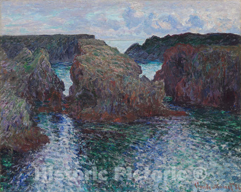 Art Print : Rocks at Port-Goulphar, Belle-ÃŽle, Claude Monet, c 1886, Vintage Wall Decor :