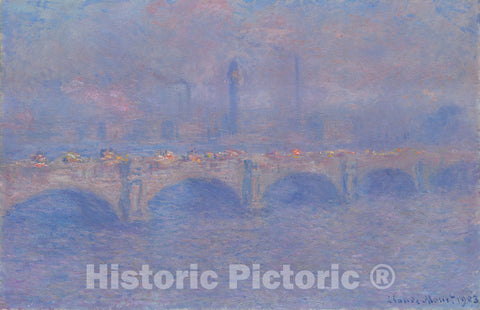 Art Print : Waterloo Bridge, Sunlight Effect, Claude Monet, c 1903, Vintage Wall Decor :