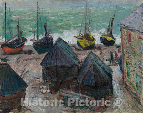 Art Print : Boats on the Beach at etretat, Claude Monet, c 1885, Vintage Wall Decor :
