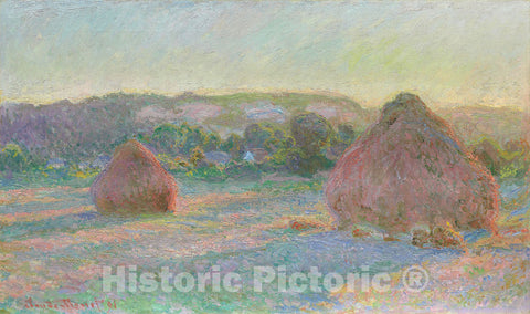 Art Print : Stacks of Wheat (End of Summer), Claude Monet, c 1890, Vintage Wall Decor :