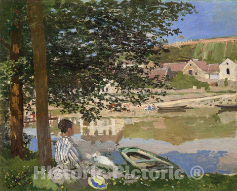 Art Print : On the Bank of the Seine, Bennecourt, Claude Monet, c 1886, Vintage Wall Decor :