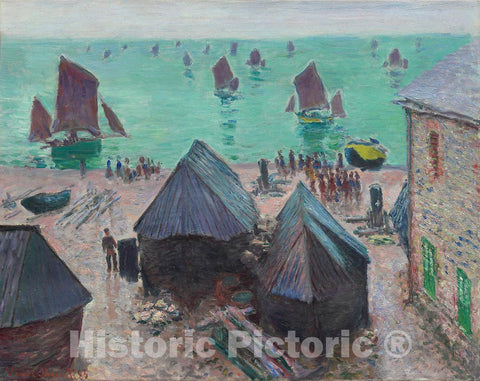 Art Print : The Departure of the Boats, etretat, Claude Monet, c 1865, Vintage Wall Decor :