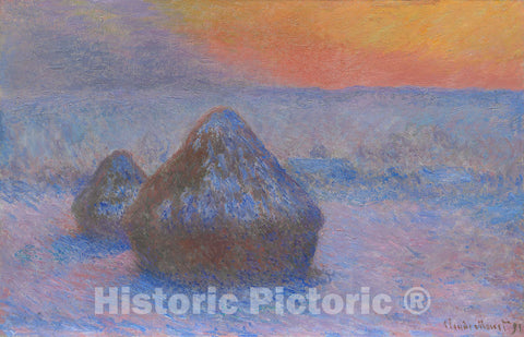 Art Print : Stacks of Wheat (Sunset, Snow Effect), Claude Monet, c 1863, Vintage Wall Decor :