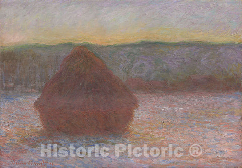 Art Print : Stack of Wheat (Thaw, Sunset), Claude Monet, c 1944, Vintage Wall Decor :