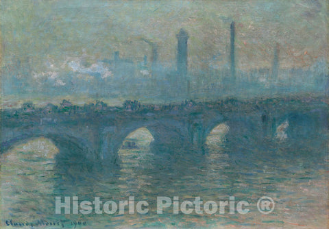 Art Print : Waterloo Bridge, Gray Weather, Claude Monet, c 1627, Vintage Wall Decor :