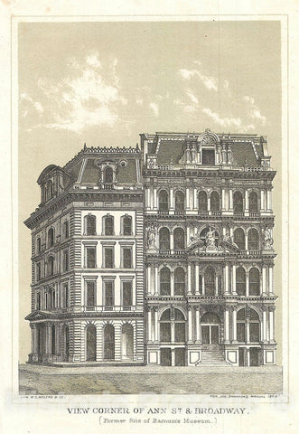 "Art Print : Broadway and Ann Street ""Barnum Museum"", New York City, Shannon, 1868, Vintage Wall Art"