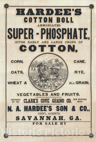 Art Print : Ad for Savannah based Hardee's Son Cotton Fertilizer, 1880, Vintage Wall Art