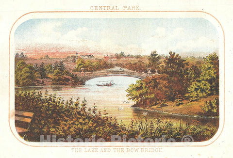 Art Print : Bow Bridge and Lake, Central Park, New York City, Shannon and Rogers, 1868, Vintage Wall Art
