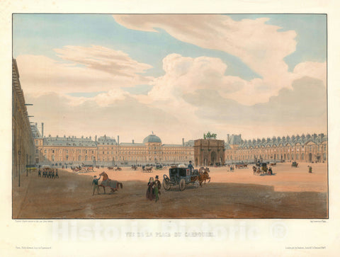 Art Print : View of Place Carrousel and The Tuileries Palace, Arnout, 1845, Vintage Wall Art