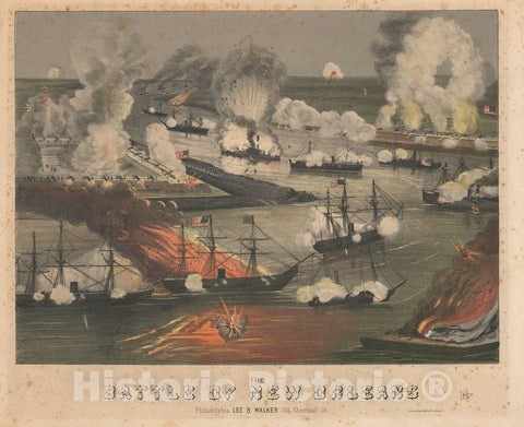 Art Print : U.S. Civil War Battle of Forts Jackson and St. Philip, Sinclair, 1862, Vintage Wall Art