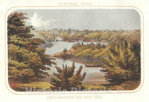 Art Print : Lake, Central Park, New York City, Shannon and Rogers, 1868, Vintage Wall Art