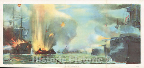 Art Print : Battle of Manila Bay, Philippines, Tyler, 1898, Vintage Wall Art