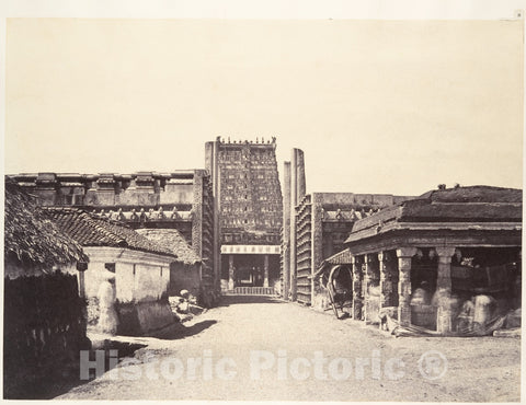 Photo Print : Linnaeus Tripe - The Raya Gopuram from E. : Vintage Wall Art